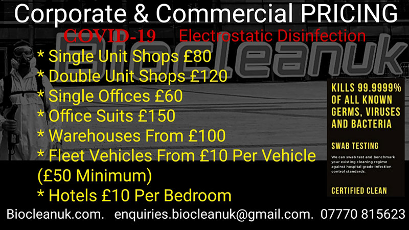 Corporate and Commercial Covid 19 Cleaning Price list