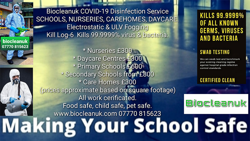 Price list for Covid 19 cleaning service for Schools, nurseries, care homes and day care centres.